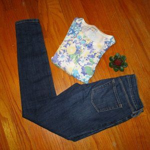 LL BEAN cardigan blue green yellow flowers size XS